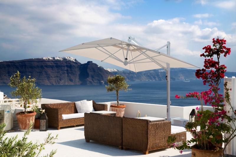 Grand parasol déporté toile ecru taupe gris anthracite Galileo Starwhite ou Inox SCOLARO