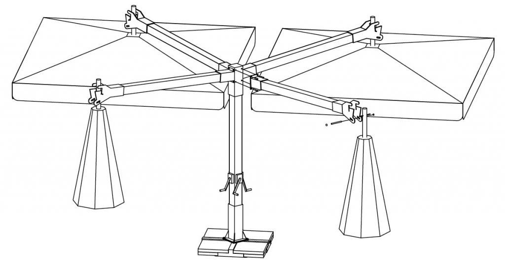 Parasol rectangular a mastil lateral 3x6m Alu Double Scolaro SCOLARO