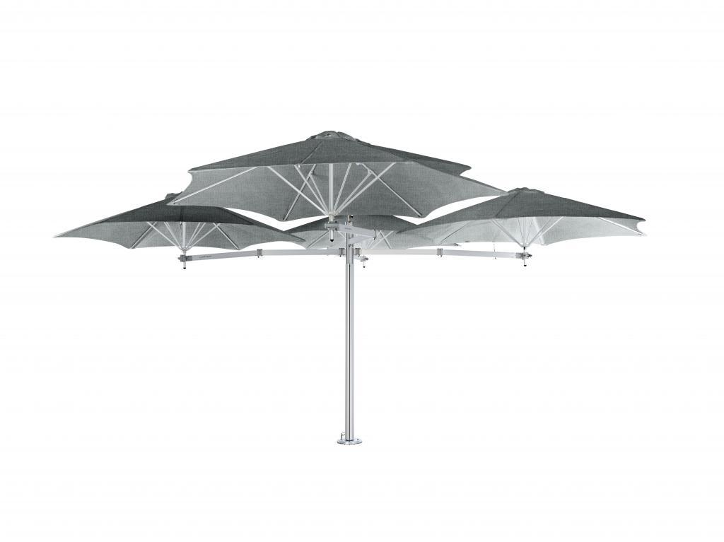 Parasol 1 mat et 3 parasols (3 bras 2m + 3 armatures + 3 toiles) Paraflex Evolution UMBROSA